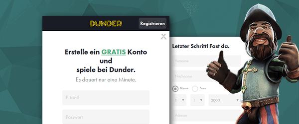 Dunder Casino Registrierung