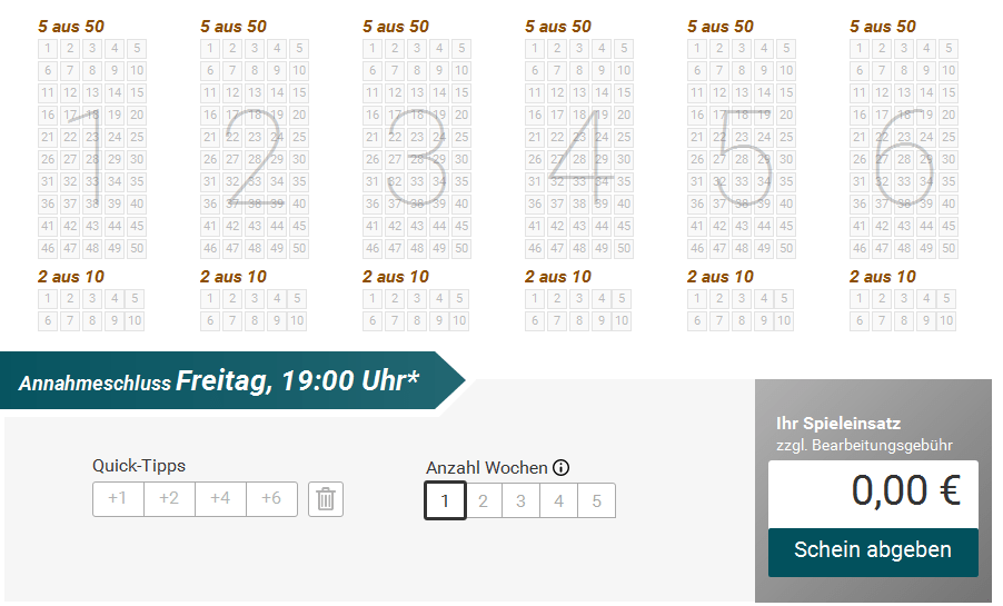 EuroJackpot Schein von Lotto.de