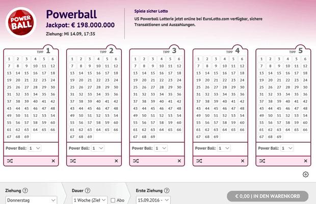Powerball Lottoschein bei EuroLotto