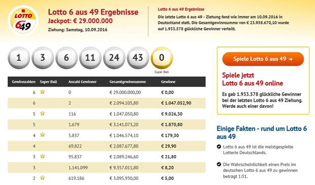 Ergebnisanzeige der 6 aus 49 Ausziehungen von EuroLotto