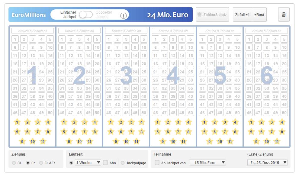 Der EuroMillionen Lottoschein bei lottoland.de
