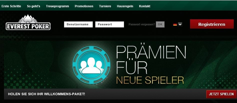 Everest Poker Neukundenbonus auf everestpoker.com