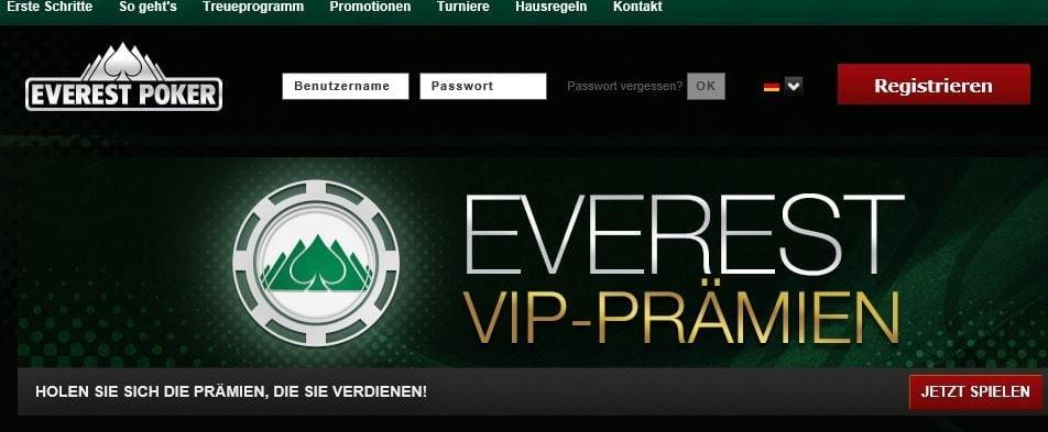 Everest Poker Stammkundenprogramm mit VIP-Punkten