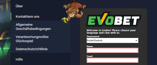 Evobet Casino Support
