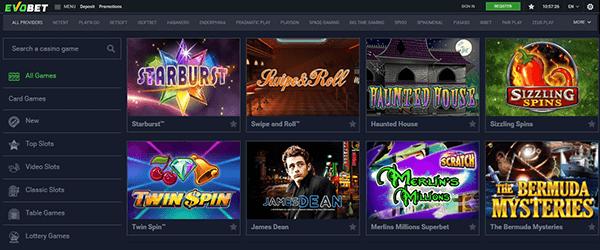 Evobet Casino Spiele