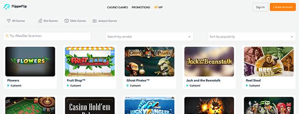 Flipperflip Casino Spiele