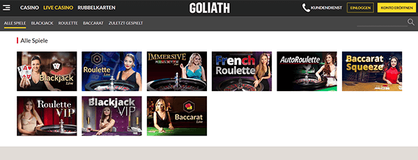 Goliath Casino Livecasino