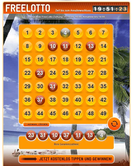 Lottoschein der Lotterie von jaxx.com