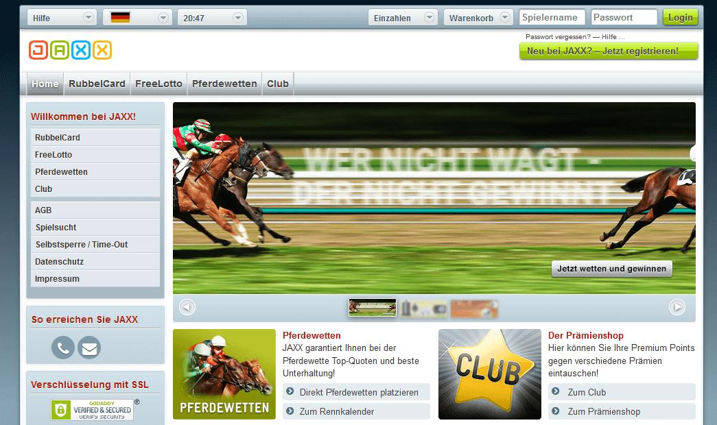 Die Homepage von jaxx.com