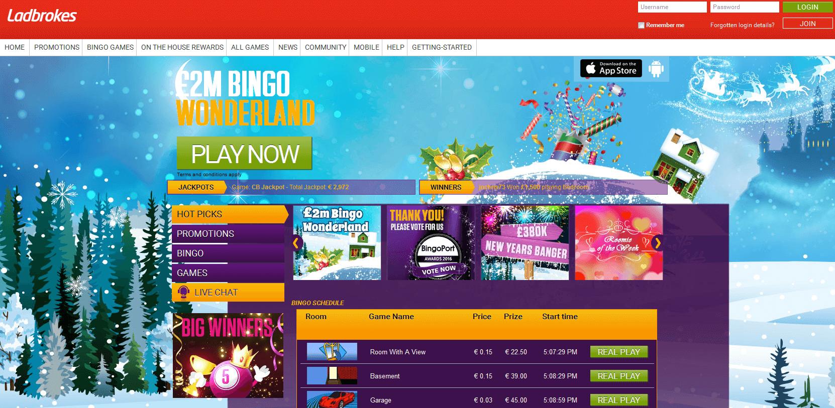 Die Homepage von Ladbrokes Bingo