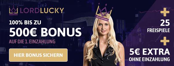 Lord Lucky Casino Bonus für Neukunden