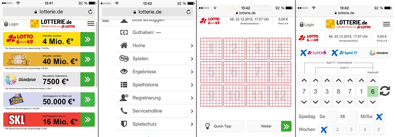 Keine App, dafür aber eine adäquate mobile Webseite bei Lotterie.de