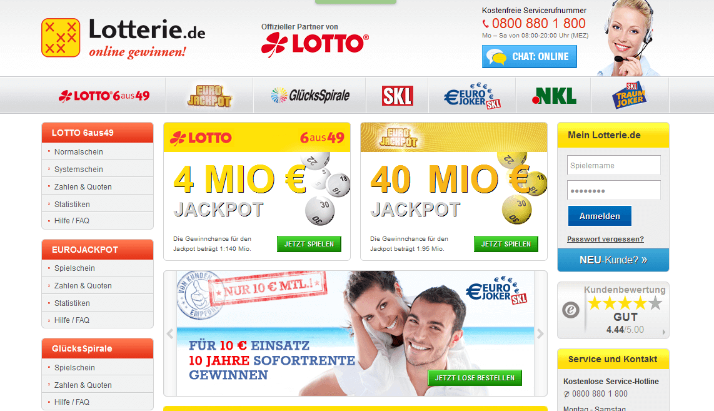 Die Webseite von Lotterie.de