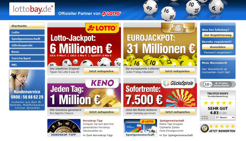 Die Homepage von lottobay.de