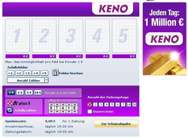 Keno Spielschein bei Lottobay