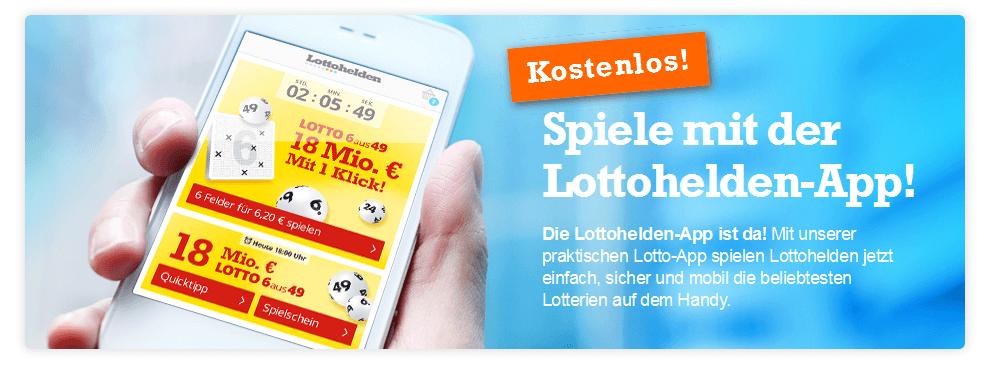 Die kostenlose App von Lottohelden.de