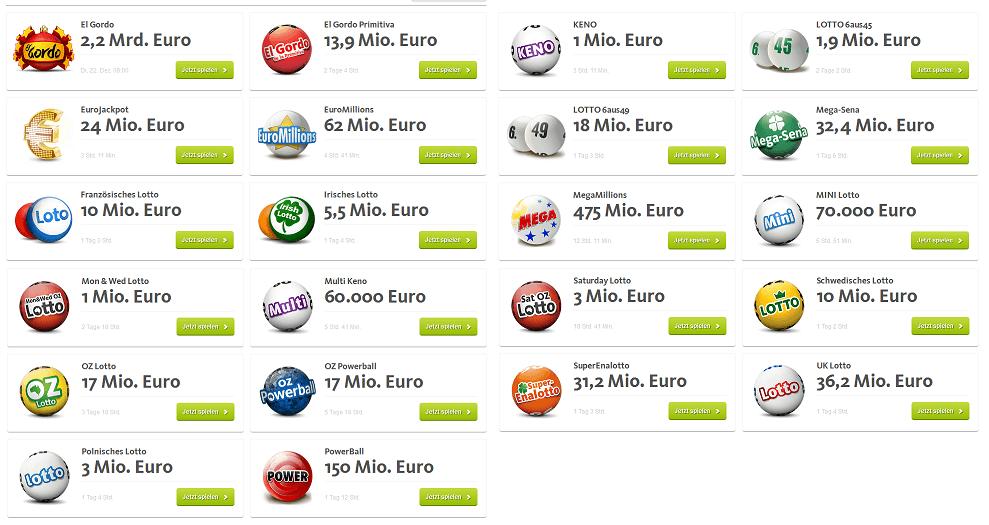 Viele internationale Lotterien sind bei lottoland.com zu finden