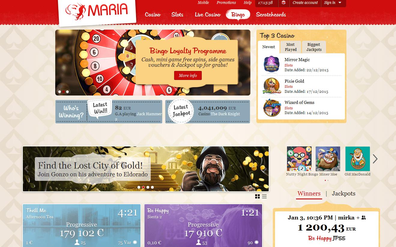 Der Webauftritt von Maria Bingo