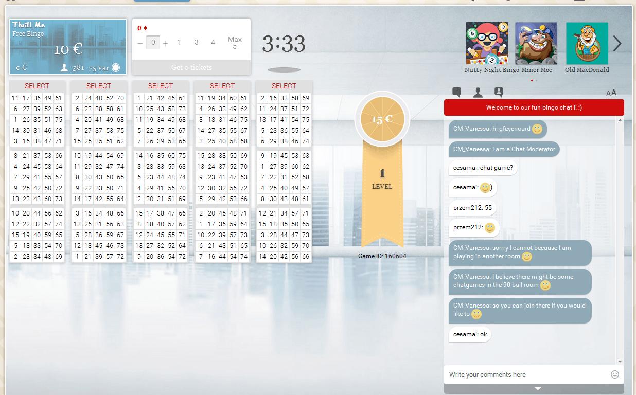 Bingo Tisch und Chat von Maria Bingo