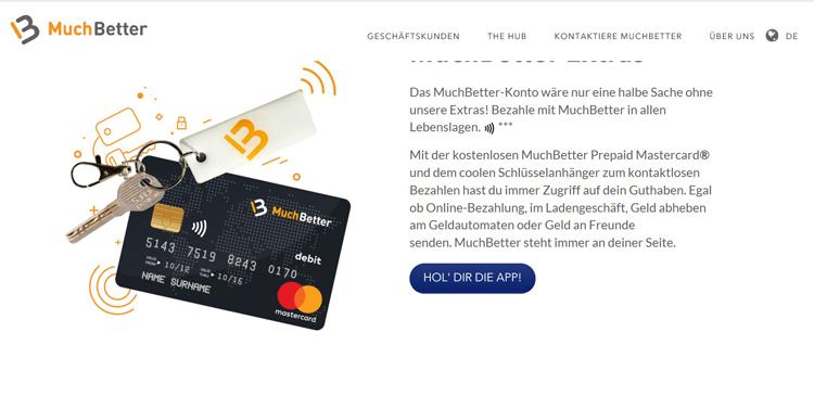 PrePaid Kreditkarte und MuchBetter Schlüsselanhänger als Goodies