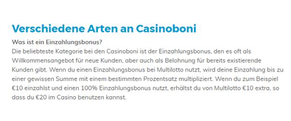 Multilotto Casino Bonus