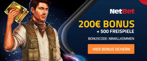 Als Neukunde gibt es für die Anmeldung einen 1000€ Bonus sowie eine 50% Erstattung von Netbet