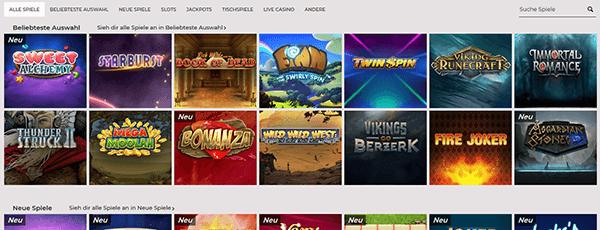 NYSpins Casino Spiele Angebot