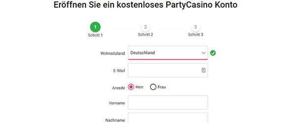 PartyCasino Anmeldung