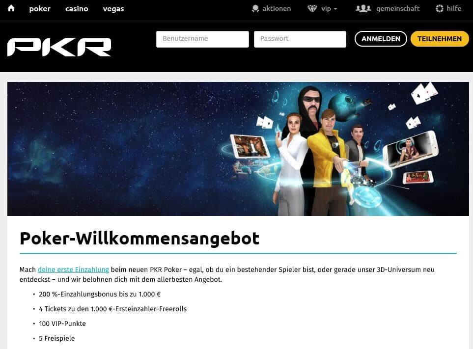 : PKR Poker Neukundenbonus