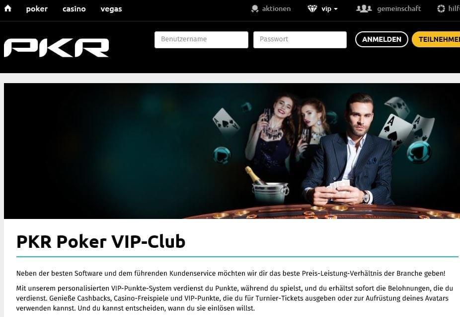 PKR Poker Stammkundenprogramm mit VIP-Punkten