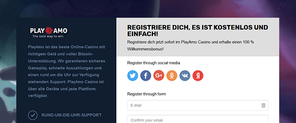 PlayAmo Casino Registrierung