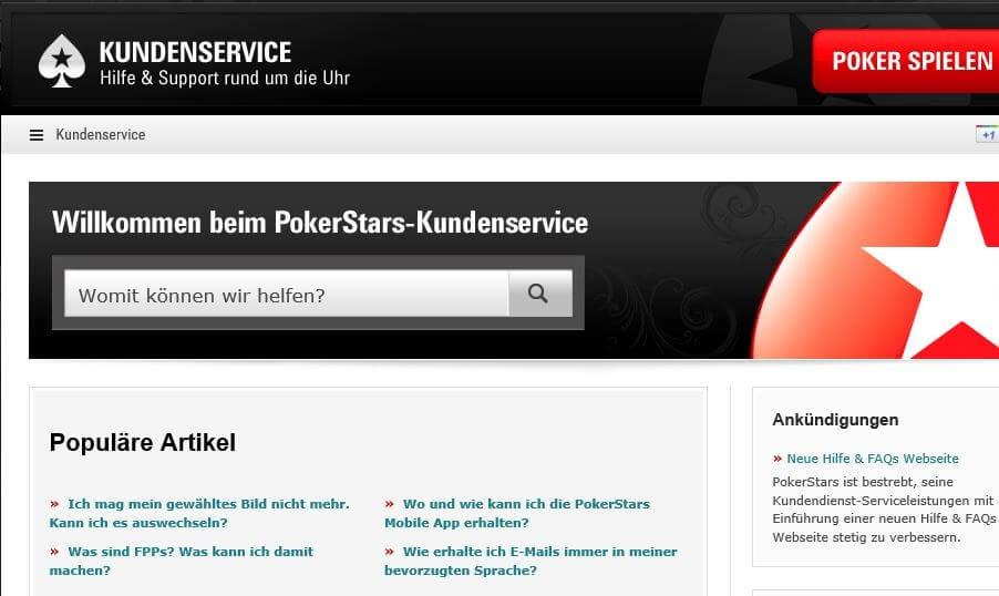 Support-Angebot von PokerStars
