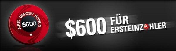 Pokerstars ermöglicht Neukunden die eigene Einzahlung um 100% bis 600$ bzw. 500€ aufzustocken