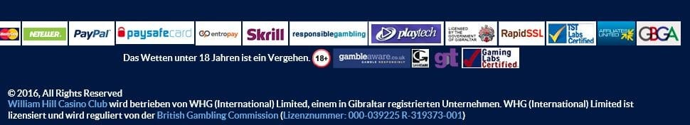 Lizenzen & Zertifikate von William Hill Casino im Detail