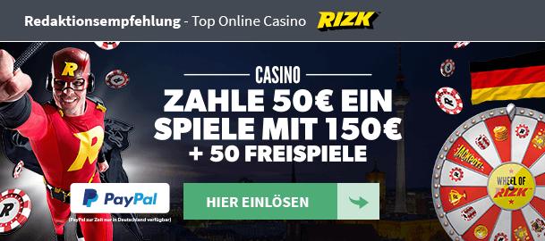 Redaktionsempfehlung Rizk Casino