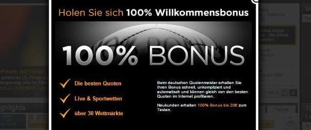 Neue Kunden erhalten einen 100%igen Bonus von bis zu 20€