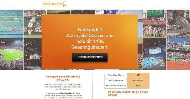 Neue Kunden erhalten einen 100% bis 55€ Bonus auf die erste Einzahlung