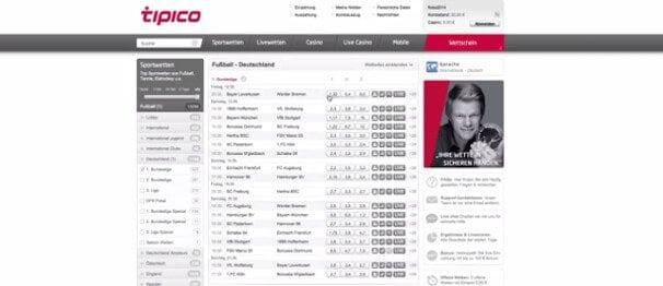 Beispielhafte Bundesligawette im großen Wettmarkt von Tipico