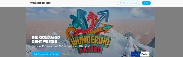 Wunderino Casino Webseite