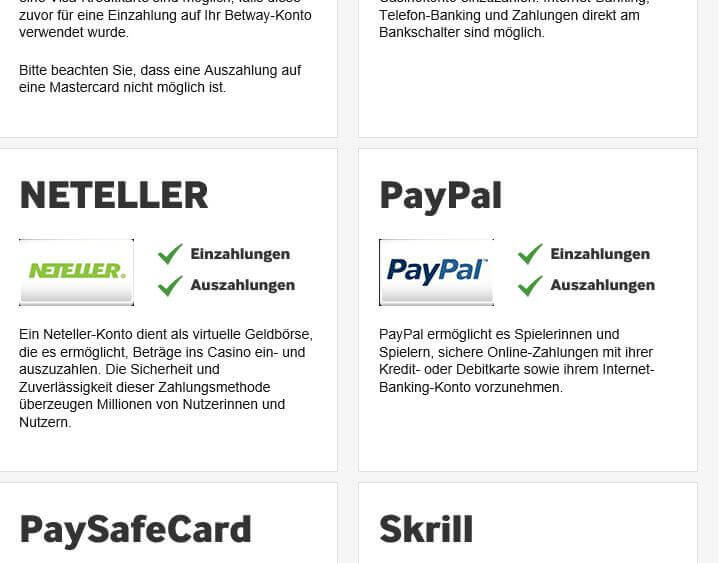 PayPal-Kooperation bei betway Casino