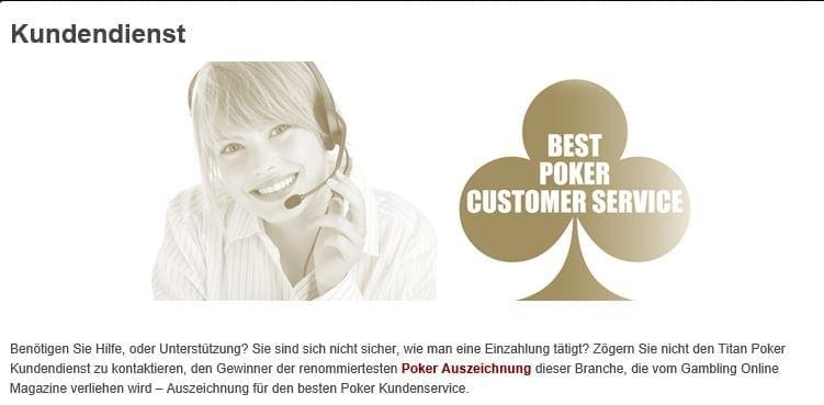 Support-Angebot von Titan Poker