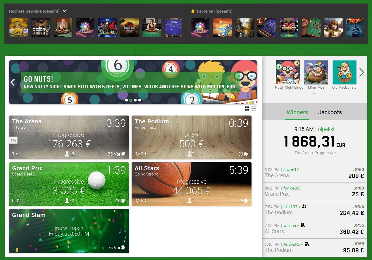 Die Bingo Homepage von Unibet