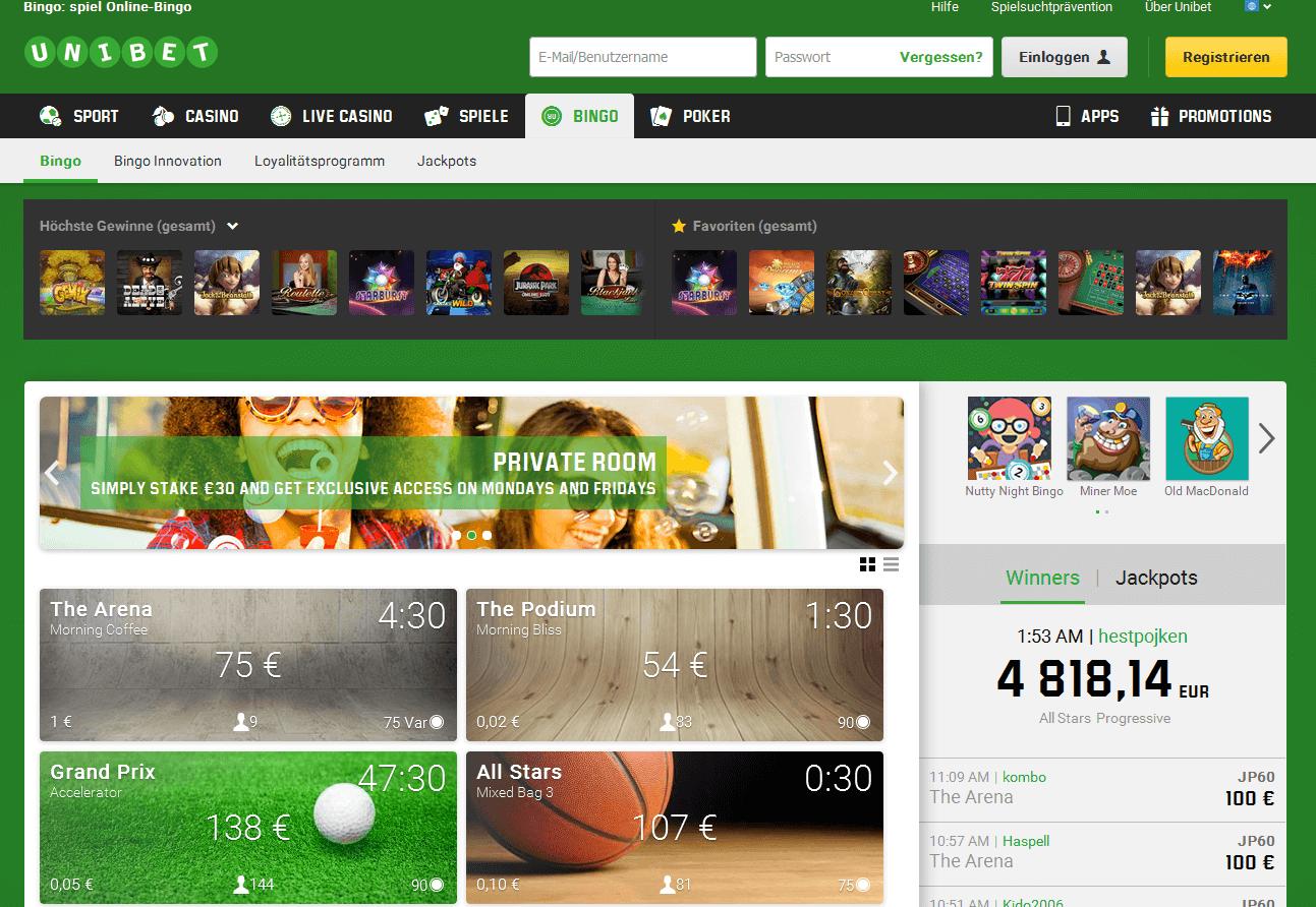 Die Webseite von Unibet Bingo