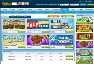 Bingolose auf der Homepage von William Hill Bingo