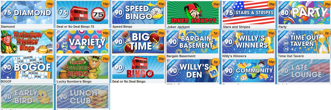 Die Bingo Auswahl von William Hill