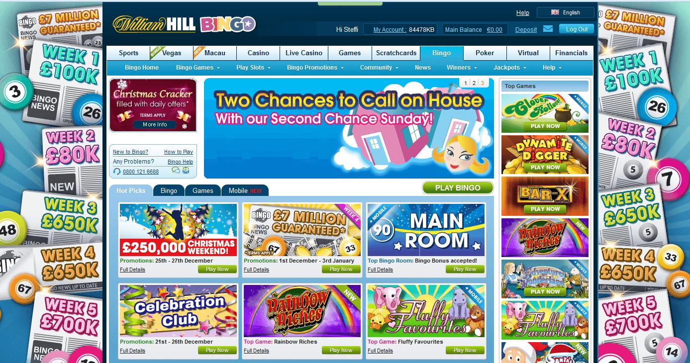 Die Bingo Webseite des Buchmachers William Hill