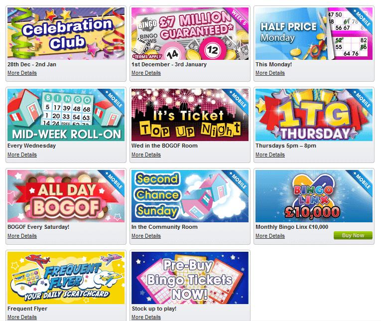 Ein Beispiel für die Bingo-Specials für Bestandskunden