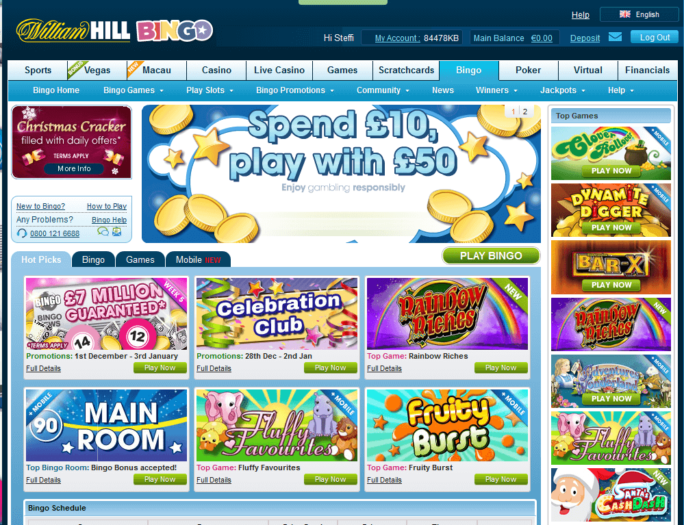 Die Bingo Homepage des Buchmachers William Hill