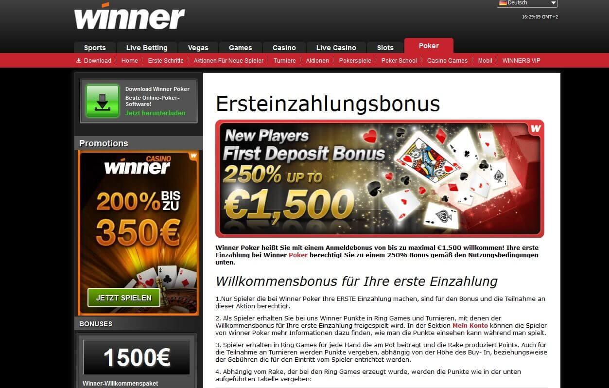 Winner Poker Einzahlungsbonus für Neukunden