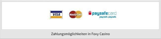 Foxy Casino Zahlungsmethoden